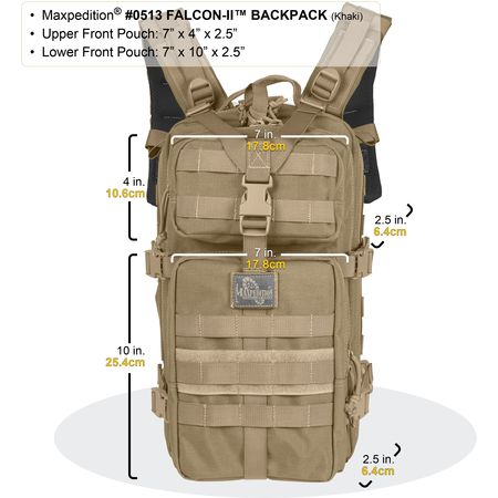Maxpedition Falcon-II Tactical Backpack Dimensions Front
