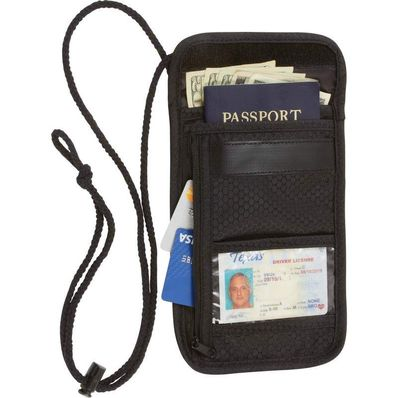 Embassy Transparent Window ID Travel Security Wallet w/ Neck Strap